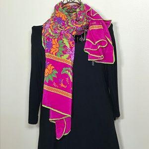 Luc benoit colorful silk scarf/stole